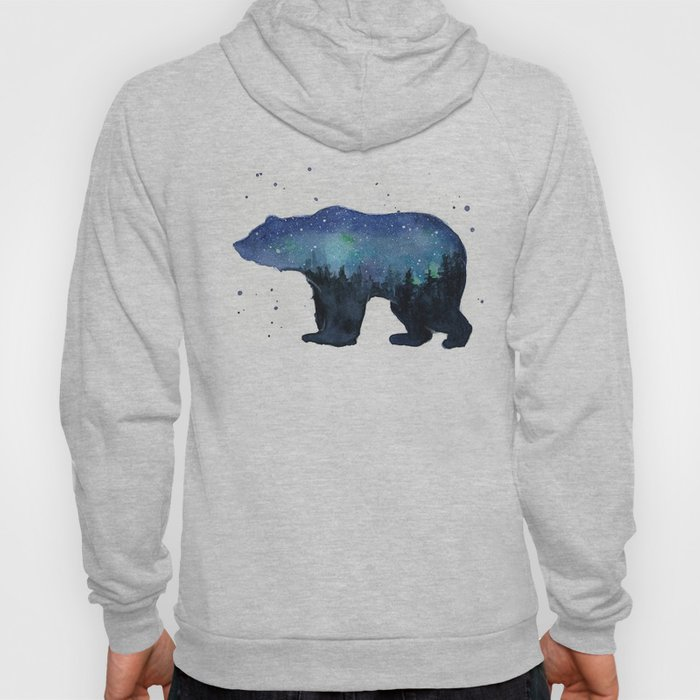 Forest Bear Silhouette Watercolor Galaxy Hoody