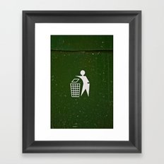 Trash - Put here please! Framed Art Print