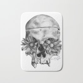 Skull and Flowers Drawing Bath Mat