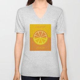 orange / lemon Unisex V-Neck