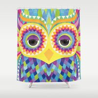 rave Shower Curtains featuring Rave the Owl by Shanti Sparrow