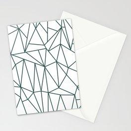 Geometric Cobweb (Dark Green & White Pattern) Stationery Cards