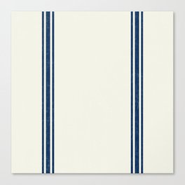 Vintage Country French Grainsack Blue Stripes Cream Background Canvas Print