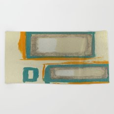 Soft And Bold Rothko Inspired - Modern Art - Teal Blue Orange Beige Beach Towel