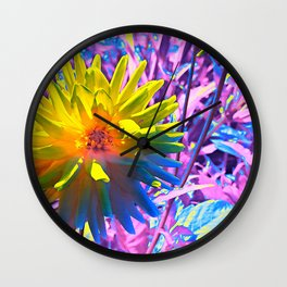 August Dahlia in Yellow Wall Clock