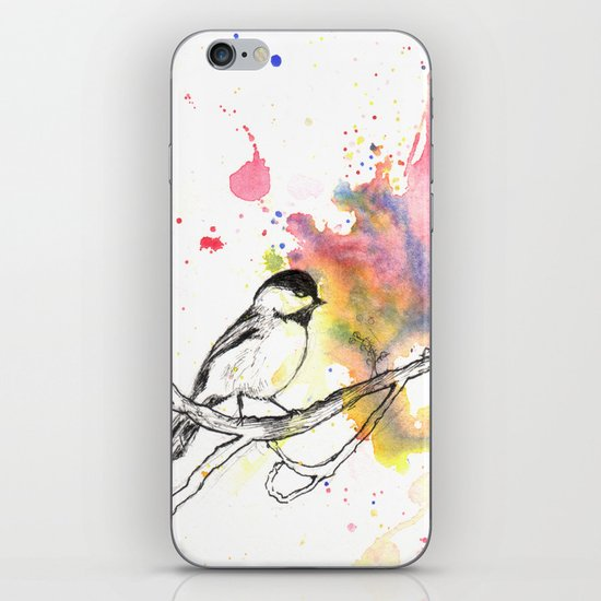 Chickadee in a Splash of Color iPhone & iPod Skin