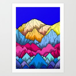 Deep Blue sky over the mountains Art Print