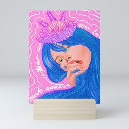 Make Waves Vitamin Sea Mermaid Girl in Shell Crown Mini Art Print