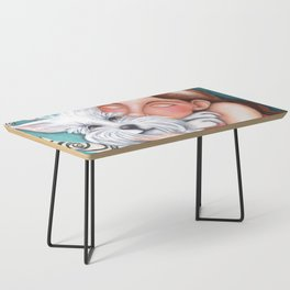 Sweet Coconut Original Art Schnauzer and girl Portrait Coffee Table