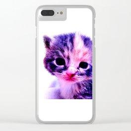 Blue Pink Cute Little Cat Clear iPhone Case