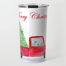 Watercolor Merry Christmas Truck With Tree Travel Mug