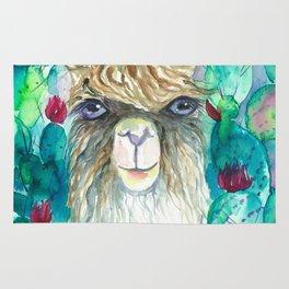 Llama in cacti Rug