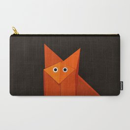 Dark Geometric Cute Origami Fox Carry-All Pouch