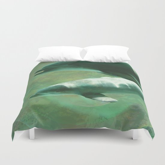 Two Dolphins Duvet Cover