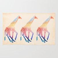 giraffe Area & Throw Rugs featuring Watercolor Giraffe by Jacqueline Maldonado