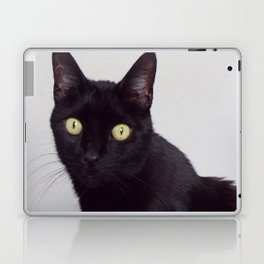 Pretty Kitty, Black Cat With Huge Green Eyes, Halloween Cat Laptop & iPad Skin