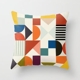 mid century retro shapes geometric Throw Pillow