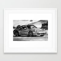 porsche Framed Art Prints featuring Porsche  by Marcela Caraballo
