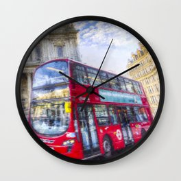 London Double Decker Bus Art Wall Clock