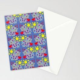 Elephant Flower Power Blue Stationery Cards