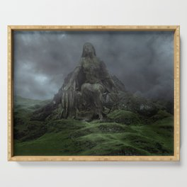Giant Goddess Statue on a Green Hilly Landscape Serving Tray