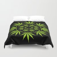cannabis Duvet Covers featuring Cannabis Leaf Circle (Black) by Thisisnotme