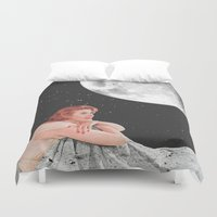 blanket Duvet Covers featuring Moon Blanket by Sophie Le