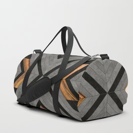 Urban Tribal Pattern No.2 - Concrete and Wood Duffle Bag