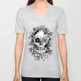 floral skull drawing black and white 2 Unisex V-Neck