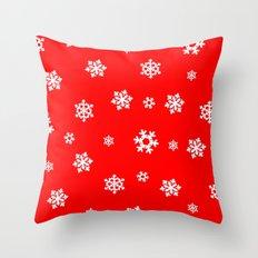 Snowflakes (White on Red) Throw Pillow