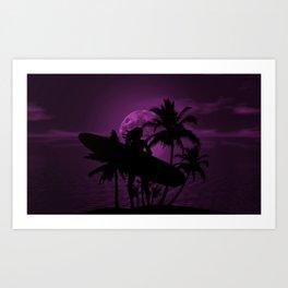Purple Dusk with Surfergirl in Black Silhouette with Longboard Art Print