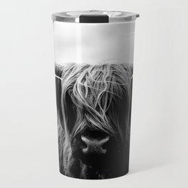 Scottish Highland Cattle Black and White Animal Travel Mug
