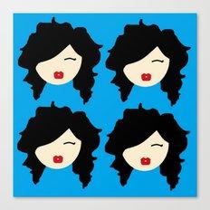 Minimalist girl with black hair Canvas Print