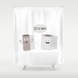Toilet roll tissue cartoon Shower Curtain
