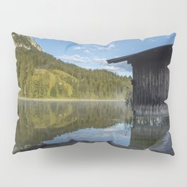 Lake water reflections with boathouse. Amazing shot of a wooden house in the Ferchensee lake in Bavaria, Germany, in front of a mountain belonging to the Alps. Pillow Sham