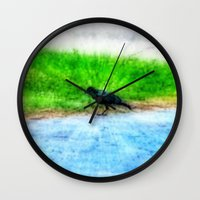 crow Wall Clocks featuring Crow by Geni