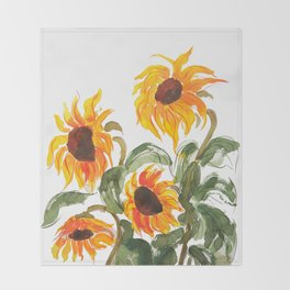 sunflower watewrcolor 2018 Throw Blanket