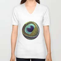 peacock feather V-neck T-shirts featuring peacock feather by AnnaGo
