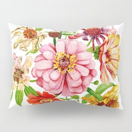 Zinnia Wildflower Floral Painting Pillow Sham