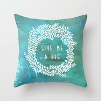 hug Throw Pillows featuring Hug by lescapricesdefilles