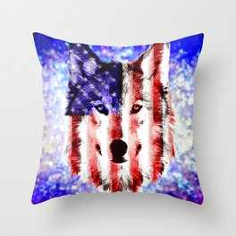 wolf USA Throw Pillow