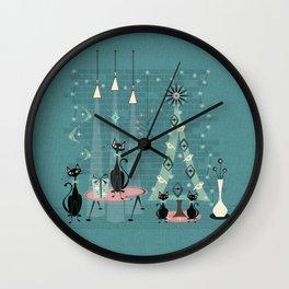 Vintage Cat Family Holiday Wall Clock