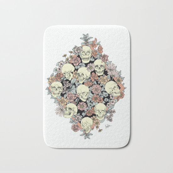 Blooming Skulls Bath Mat