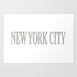 New York City (type in type on white) Art Print