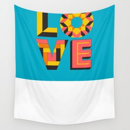 LOVE - Turquoise Wall Tapestry