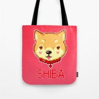 shiba inu Tote Bags featuring SHIBA INU LOVE by giaj