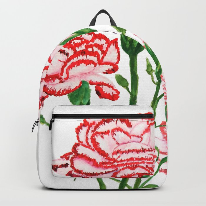 pink and red carnation watercolor painting Backpack