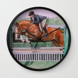 Hunter Over Fences chestnut mare Wall Clock