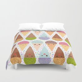 Kawaii mint raspberry chocolate Ice cream waffle cone with pink cheeks and winking eyes Duvet Cover