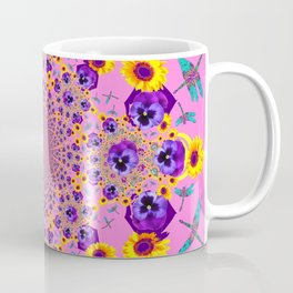 PURPLE MILLEFIORI PANSY YELLOW FLOWERS Coffee Mug